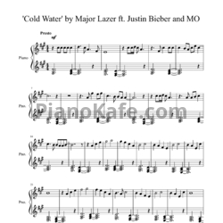 Ноты Major Lazer feat. Justin Bieber & MØ - Cold water - PianoKafe.com