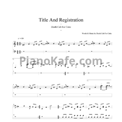 Ноты Death Cab For Cutie - Title and registration - PianoKafe.com