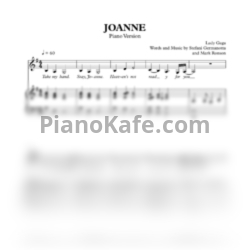 Ноты Lady Gaga - Joanne (Where do you think you're goin'?) - PianoKafe.com