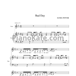 Ноты Daniel Powter - Bad Day - PianoKafe.com