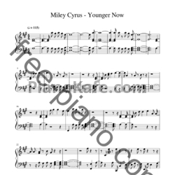 Ноты Miley Cyrus - Younger now - PianoKafe.com