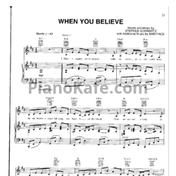 Ноты Mariah Carey feat. Whitney Houston - When you believe (Версия 2) - PianoKafe.com