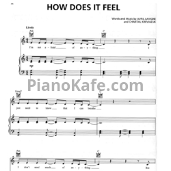 Ноты Avril Lavigne - How does it feel - PianoKafe.com