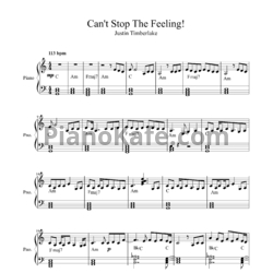 Ноты Justin Timberlake - Can't stop the feeling - PianoKafe.com
