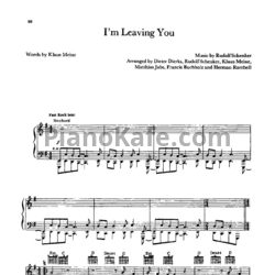 Ноты Scorpions - I'm leaving you - PianoKafe.com