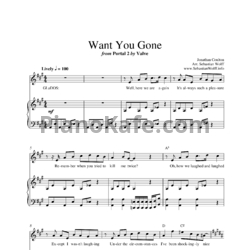 Ноты Jonathan Coulton - Want you gone (Portal 2 OST) - PianoKafe.com